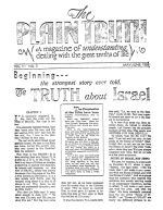 Beginning... the strangest story ever told, The TRUTH about Israel Plain Truth Magazine May-June 1938 Volume: Vol III, No.5 Issue:
